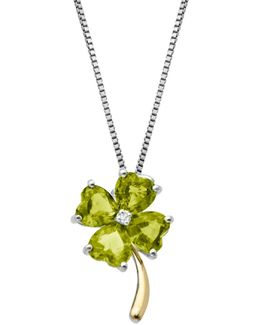 Sterling Silver 14kt. Yellow Gold Peridot And Diamond Necklace