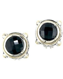 Balissima Onyx, Sterling Silver And 18k Yellow Gold Stud Earrings