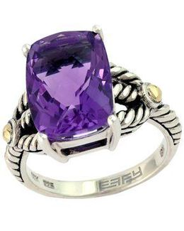 Balissima 18 Kt. Yellow Gold And Sterling Silver Amethyst Ring