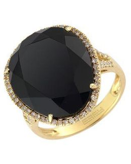 14 Kt. Yellow Gold Onyx And Diamond Ring
