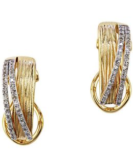 Doro Diamond And 14k Yellow Gold Earrings