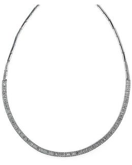 Diamond And 14k White Gold Collar Necklace, 4.16 Tcw