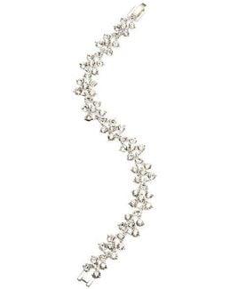 Crystallized Silvertone Flex Bracelet