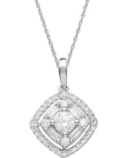 Diamond And 14k White Gold Pendant Necklace