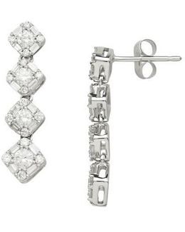 14kt. White Gold And Diamond Drop Earrings