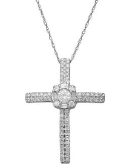 14kt. White Gold And Diamond Cross Pendant Necklace
