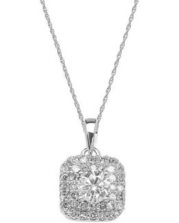 14 Kt. White Gold And Diamond Pendant Necklace