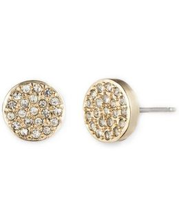 Goldtone And Crystal Button Stud Earrings