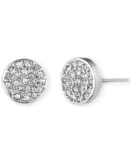 Silvertone And Crystal Button Stud Earrings
