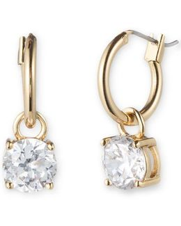 Goldtone Hoop And Cubic Zirconia Drop Earrings