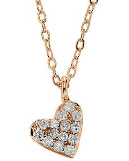 14kt. Rose Gold And Diamond Heart Pendant Necklace