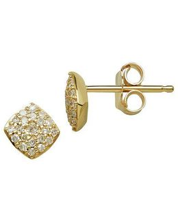 14kt Yellow Gold And 0.17 Ct T W Diamond Earrings