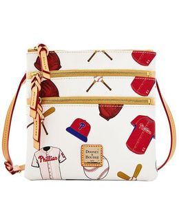 Philadelphia Phillies Coated Cotton Triple Zip Crossbody Bag