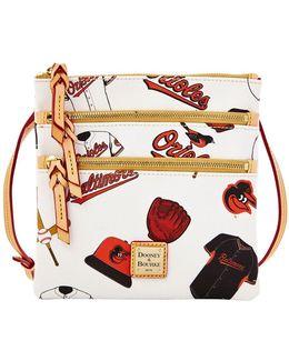 Baltimore Orioles Coated Cotton Triple Zip Crossbody Bag