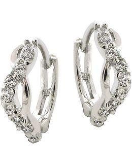 Sterling Silver And Cubic Zirconia Twist Hoop Earrings