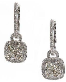 Bouquet Diamond And 14k White Gold Drop Earrings, 1.21tcw