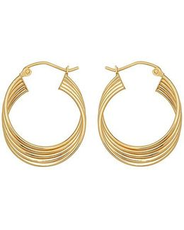 14kt. Yellow Gold Four Row Hoop Earrings