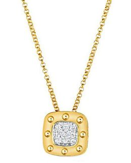 Pois Mois Diamond And 18k Yellow Gold Pendant Necklace