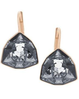 Brief Rose Goldtone And Silver Night Crystal Drop Earrings