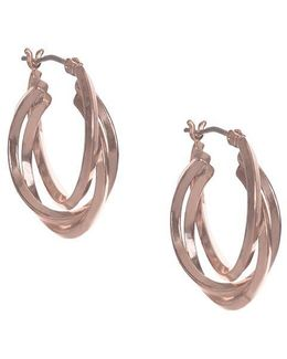 Rose Goldtone Multi-strand Hoop Earrings