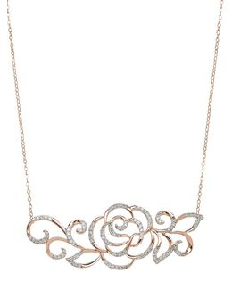 14kt Rose Gold And Diamond Rose Necklace