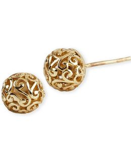 18 Kt Gold Over Sterling Silver Lace Ball Earrings