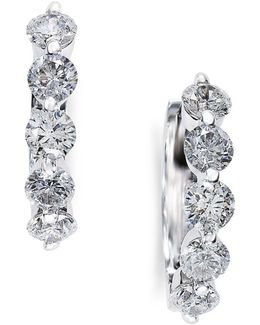 Classica Diamond And 14k White Gold Hoop Earrings, 0.98 Tcw