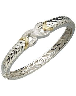 Sterling Silver And 14k Yellow Gold Diamond Bangle