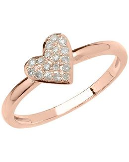 14kt Rose Gold And Diamond Heart Ring
