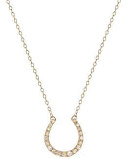 14k Yellow Gold And Diamond Horse Shoe Necklace