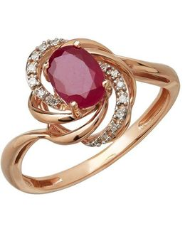 Diamond And Ruby 14k Rose Gold Ring