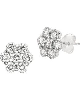 14kt White Gold And 0.52 Ct T W Diamond Flower Earrings