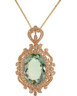 Green Amethyst, Diamond And 14k Rose Gold Pendant Necklace
