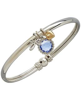 14k Yellow Gold Sterling Silver And Blue Topaz Charm Bracelet