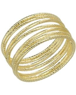 14k Yellow Gold Textured Tube Ring
