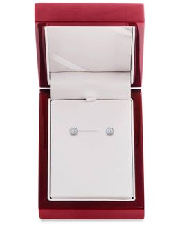 Diamond And 14k White Gold Stud Earrings, 0.5 Tcw