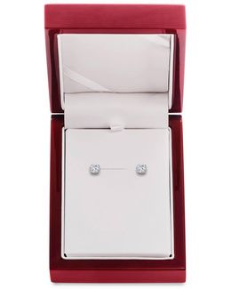 Diamond And 14k White Gold Stud Earrings, 1 Tcw