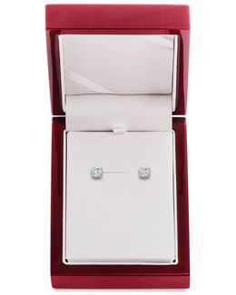 Diamond And 14k White Gold Stud Earrings, 1.5 Tcw
