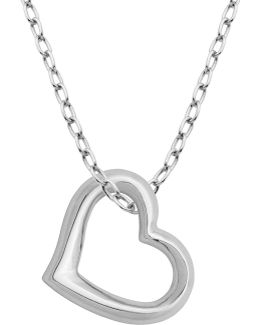 Rhodium Plated Sterling Silver Open Heart Pendant Necklace