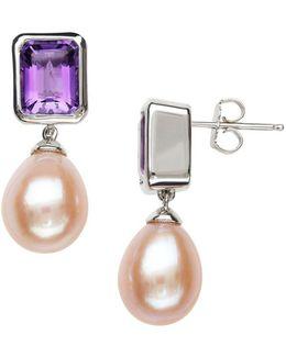 Sterling Silver Pink Freshwater Pearl And Amethyst Earrings