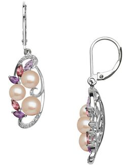 Sterling Silver Freshwater Pearl Diamond Earrings With Amethyst And Pink Tourmaline