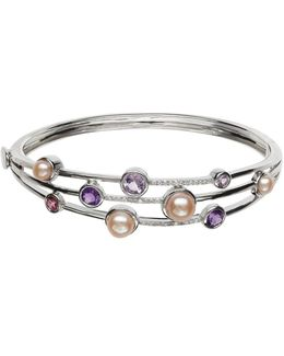Sterling Silver Fresh Water Pearl And Diamond Bangle
