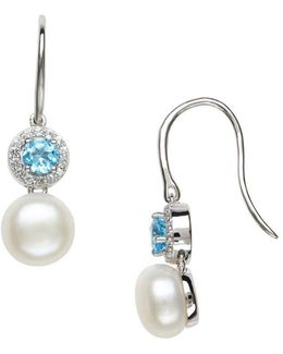 Sterling Silver Fresh Water Pearl And Topaz Earrings
