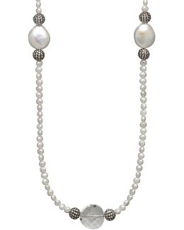 Sterling Silver 12-13mm Freshwater Coin Pearl Necklace With Swarovski Crystal Beads