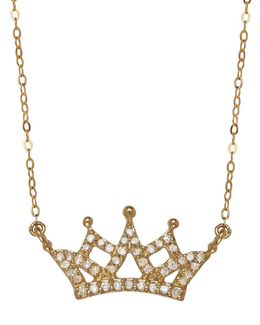 14k Yellow Gold Diamond Crown Necklace