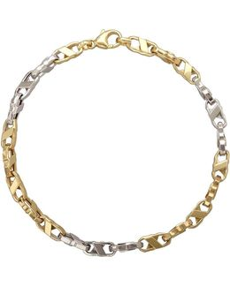 14k Yellow And White Gold Mens Bracelet