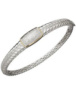 Red Box Gallery Sterling Silver With 14k Yellow Gold Diamond Bangle Bracelet
