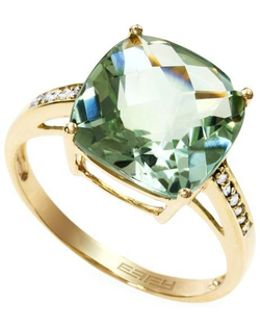 Red Box Gallery 14k Yellow Gold Green Amethyst And Diamond Ring