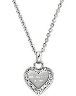 Heritage Hearts Pavé Logo Pendant Necklace/silvertone