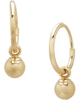 14k Yellow Gold Ball Hoop Earrings